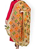 #2: Weavers Villa® Punjabi Hand Embroidery Phulkari Faux Chiffon Beige Dupatta, Stoles
