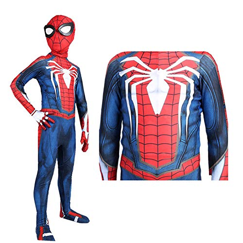 SDFXCV Jungen Superheld Spiderman Kostüme Unisex Erwachsene Kinder Spiderman PS4 Overall Body Lycra Spandex Zentai Halloween Cosplay Kostüme,Kids-M(Height47-50Inch) (Was Superhelden Kostüm)