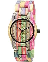 BEWELL Reloj de madera 100% hecho a mano natural de bambú colorido reloj de cuarzo
