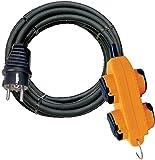 Brennenstuhl 1151781 Cordon Prolongateur Powerblock 10 m, IP44, Rallonge electrique avec Crochet et 4 prises à clapet Jaune
