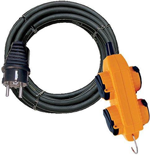 Brennenstuhl Rallonge Electrique Powerblock 4 Prises à Clapets (Câble 10M H07RN-F 3G1, 5 avec Crochet, IP44, Noir & Jaune), fabrication Francaise