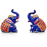 Collectible India Vastu Lucky Elephant Pair Figurines, Metal Painted Lucky Trunk Up Elephant Animal Decor Statue