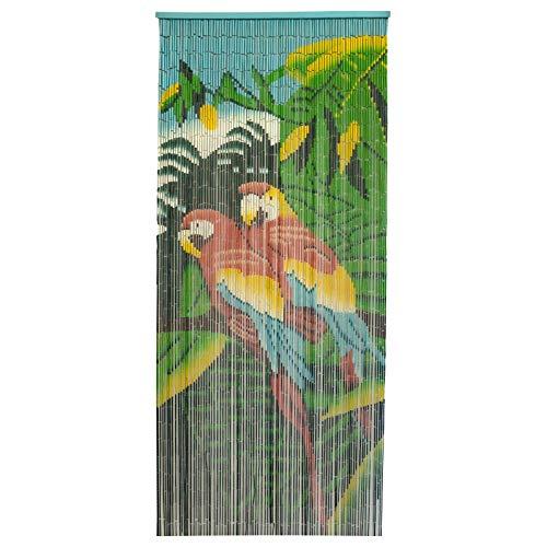 Smartfox Türvorhang Bambusvorhang Bambustürvorhang Raumteiler mit 90 Strängen in der Größe 90x200cm mit Motiv Papagei