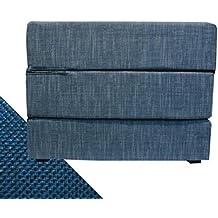 Arketicom TOUF, il Letto che diventa Puff, con Base in Jeans Azzurro e Fodera Esterna Blue Elettrico 63x63x45 cm (pouf puf pouff pouffe poggiapiedi)