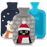 HomeTop - borsa dell'acqua calda di alta qualità, 2 litri, stile classico e rivestimento lavorato a maglia, motivo: animali