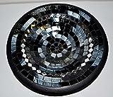 Teller in Mosaiktechnik Dekoteller schwarz/silber 27cm - 2