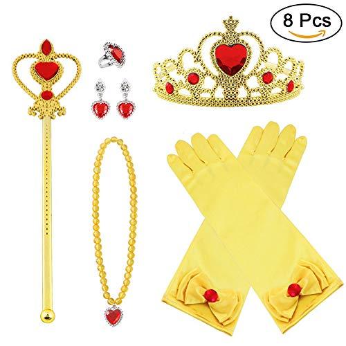 Vicloon neue Prinzessin Kostüme Set 9 Stück Geschenk aus Diadem, Handschuhe, Zauberstab, Halskette2-9 - Rosa Belle Kostüm