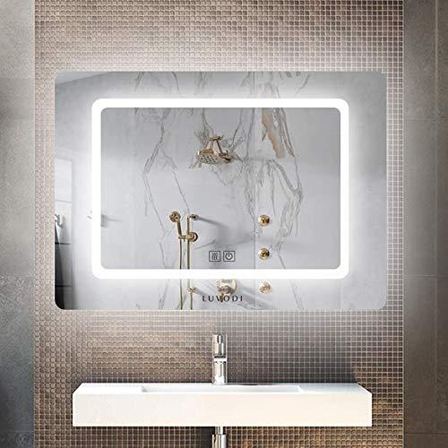 LUVODI Wandspiegel mit LED Beleuchtung Badspiegel durch satinierte Lichtflächen Antibeschlag Dimmbar Touch Schalter Badzimmer Make up Spiegel 70 x 50cm IP44 energiesparend