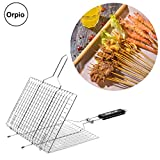 #3: Orpio Portable BBQ Grilling Basket Chromium Plated Barbecue Net Grill Fish Meat with Wooden Handle (Silver)