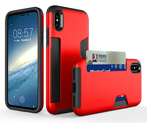 CaseforYou Hülle iphone X Schutz Gehäuse Hülse Anti-scratch Cellphone Case Shock Resistant Protector Shell with Card Slot Schutzhülle für iphone X (Grey) Red