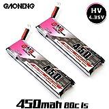 2pcs GNB 450mAh 1S HV 3,8V 4,35V batterie LiPo 80C Jst-ph 2.0 Powerwhoop Mcpx connecteur pour Inductrix FPV Plus KingKong Tiny 7 Beta75s Micro FPV Racing Drone etc.