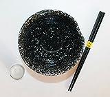 AAF Nommel ® Jumbo Reisschale mit Essstäbchen aus Bambus, asiatische Schriftzeichen, schwarz meliert Nr. 079 -