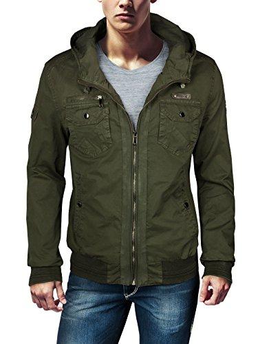 Trisens Herren Army MILITÄR Jacke 100% Cotton Feldjacke Military Herrenjacke, Größe:L, Farbe:Army Grün Military Style Jacke