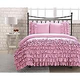 Generoso da 600 di fili 100% cotone egiziano rosa set copripiumino una piazza e mezza volant da letto & lino