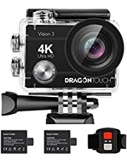 Dragon Touch 4K30fps WiFi Action Camera 16MP Vision3 Underwater Waterproof Camera 170° Wide Angle Sports Camera 4X Zoom with Remote 2 Batteries and Mounting Accessories Kit