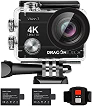 Dragon Touch 4K Action Camera 16MP Vision 3 Underwater Waterproof Camera 170 Degree Wide Angle WiFi Sports Cam