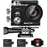 Dragon Touch 4K WiFi Action Camera 16MP Vision3 Underwater Waterproof Camera 170° Wide Angle Sports Camera 4X Zoom with Remote 2 Batteries and Mounting Accessories Kit