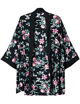 TOOGOO (R)Kimono de lana de impresion floral etnico de senora de la vendimia Cardigan Chaqueta Ropa exterior Negro L