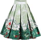 EUDOLAH Damen Kleid Vintage Sommerrock Knielang Faltenrock Stoffdreuck Grün Baum Gr.XL