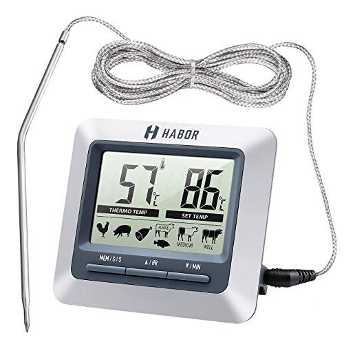 Habor Grillthermometer Ofenthermometer  großen LCD Display Lange 304 Edelstahl Messfühler 1m Kable und Count Down Timer für Garten Grillen Backen Ofen