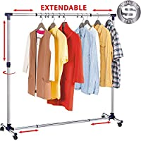 Tatkraft New York Extendable Clothes Rail Coat Rail Stainless Steel, Strong Base, Clothes Rail with Wheels, Extendable Space 86-143(L) X 44(W) X 100-165(H) cm