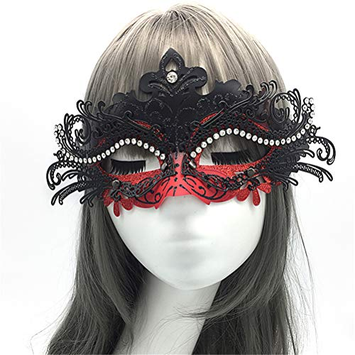 Venezianische Maske Luxus Schmiedeeisen Party Halloween Sexy Halbe Gesichtsmaske Dance Show Requisiten mit Diamant (Das Skelett Halloween-make-up Gesicht Halb)