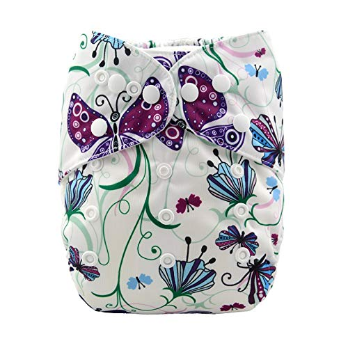 Alvababy Alva Baby Aio Cloth Diaper for Babies (with 4-Layer Premium Bamboo Insert),Washable Reusable All in One Cloth Diapers (Butterfly)