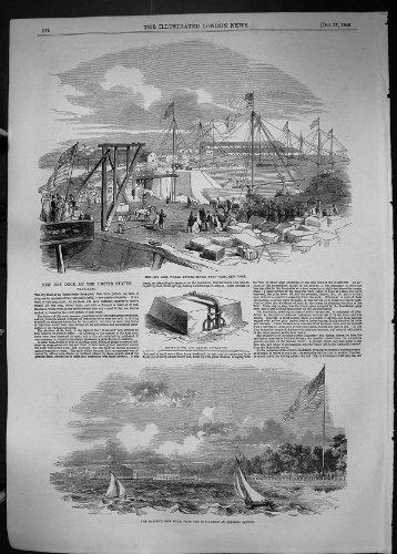 Pierre de Faire Face de 1849 de Dock Sec de Travaux de l'Amrique d'Arsenal de la Marine Bateaux de New York