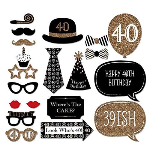 (Trimmen Shop Funny Photo Booth Party Requisiten für Kleid bis Zubehör, Hochzeit, Geburtstag, Weihnachten, Jahrestag, Thanksgiving Day, 20Stück -30th Geburtstag, Pappe, Multi, 40th)