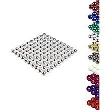 """100 Stück Magnetkugeln """"MAG-BALL"""" 5mm Magic Balls / Neodym-Kugeln - 5mm Durchmesser - starke Magnetisierung: NdFeb 38 - vier Farben zur Auswahl (chrom)"""