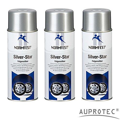 felgenspray silber Auprotec® Normfest Lackspray Silver Star Felgen Silber Spray Sprühlack Felgenlack Autolack 400ml (3 Dosen)