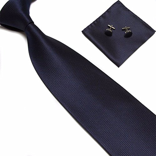 Captain Herren Designer Krawatte - 3er Set Krawatte mit Einstecktuch und Manschettenknöpfe (Navy (Blau))