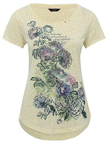 M&Co Ladies Jersey Marl Short Sleeve Burnout Butterfly Floral Slogan Button T-Shirt Lemon 10