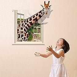 Alcoa Prime Brand New DIY 3D Lovely Giraffe Wall sticker Decal Living Kids Child Room Home Bedroom Decor Wallpaper Art Mural Removable