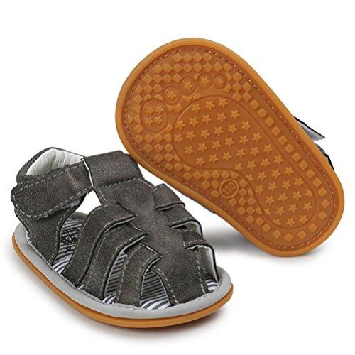 OverDose Unisex-Baby weiche warme Sohle Leder / Baumwolle Schuhe Infant Jungen-Mädchen-Kleinkind Schuhe 0-6 Monate 6-12 Monate 12-18 Monate E-PU Leder+Gummi-Dunkelgrau