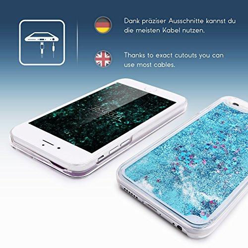 iPhone 6 Plus / 6s Plus Coque, Urcover Liquide Glitter Étoile Case Housse Apple iPhone 6 Plus / 6s Plus Étui Brillant [avec Scintillement] Fuchsia Colorée Téléphone Cover Bleu