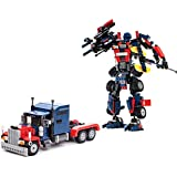 Bauklotz-Set zum Aufbau von Transformers. Kit 2 in 1 zur Montage eines Roboters oder LKWs. 377 Teile.