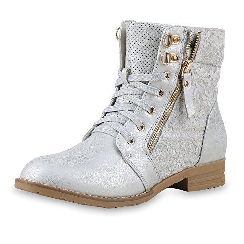 SCARPE VITA Damen Schnürstiefeletten Spitze Stiefeletten Zipper Worker Boot 160297 Silber Spitze 38