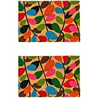 Nicola Spring Non-Slip Coir Door Mats - 60 x 90cm - Leaves - Pack of 2 PVC Backed Welcome Doormats