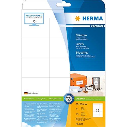 Preisvergleich Produktbild Herma 5055 Universal-Etiketten (Premium A4 Papier matt, 70 x 50,8 mm) 375 Stück weiß