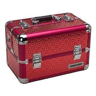 anndora Beauty Case Alu Kosmetikkoffer Schminkkoffer Werkzeugkoffer - Rot Karo