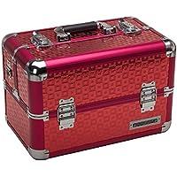 anndora Beauty Case Alu Kosmetikkoffer Werkzeugkoffer - Tragegurt Karo Farbwahl