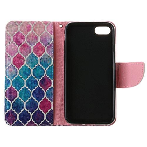 iPhone 7 Custodia, SsHhUu Lusso Stylish MagneticoStand Card Slot PU Leather Flip Protettivo Portafoglio Slim Cover Case + Stylus Pen per Apple iPhone 7 / iPhone 8 4.7 modello colorato