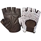 NET LEATHER FINGERLESS GLOVE GYM TRAINING BUS DRIVING CYCLING GLOVES BROWN LEATHER-WHITE MESH CN-402 EXTRA MEDIUM