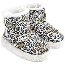 Zapatillas / botines de estar por casa de pelo con estampado de leopardo para mujer