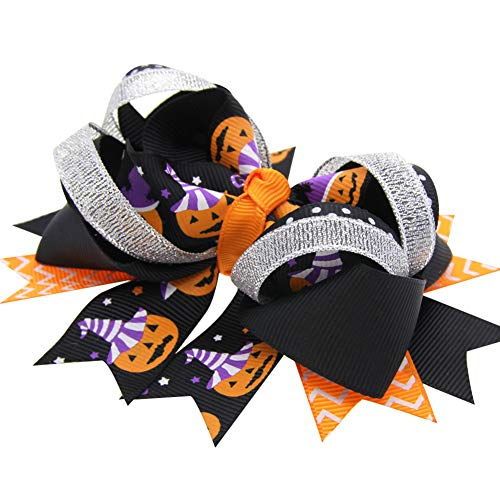 1PC Colorful Halloween Hairpin Special Pumpkin Ghost Hair Clip Exquisite Hairpin with Ribbon Bow Chic Halloween Hair Accessories for Baby Girls Teens(A)