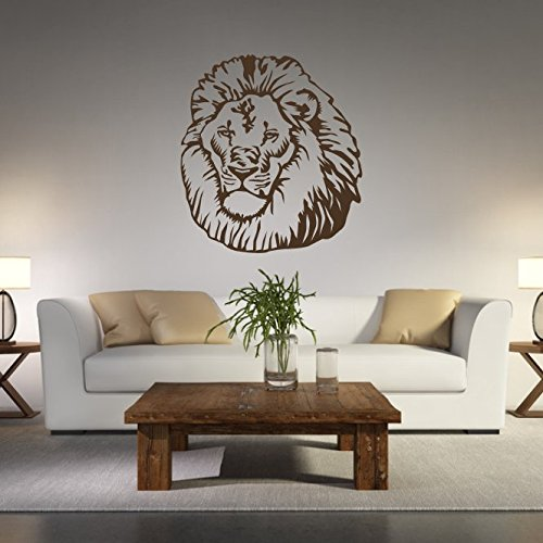malango® Wandtattoo - Löwenkopf Wand Tattoo Löwe Kopf Raubtier Großkatze Katze Wandaufkleber Afrika Tier Tierwelt ca. 100 x 109 cm Gold