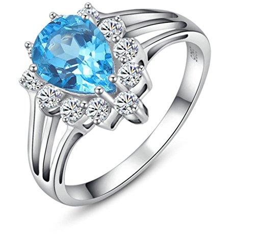 Daesar Silber Ringe Birne Cut Rhinestone Zirkonia Ringe für Damen Prinzessin Braut Ring Größe:65 (20.7)