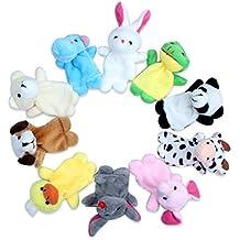Edealing Juguete animal del dedo Títeres felpa Muñeca De Trapo mano del bebé niños para la Educación Random Paquete De 10