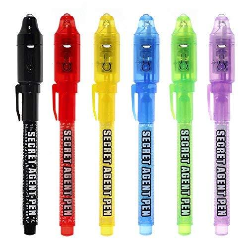 Maleden, penna a inchiostro invisibile, penna spia con luce UV, evidenziatore magico per bambini per messaggi segreti e riempitivo per sacchetti da festa